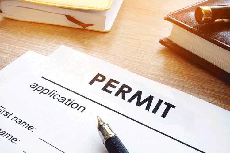 A legal document with Permit written on top