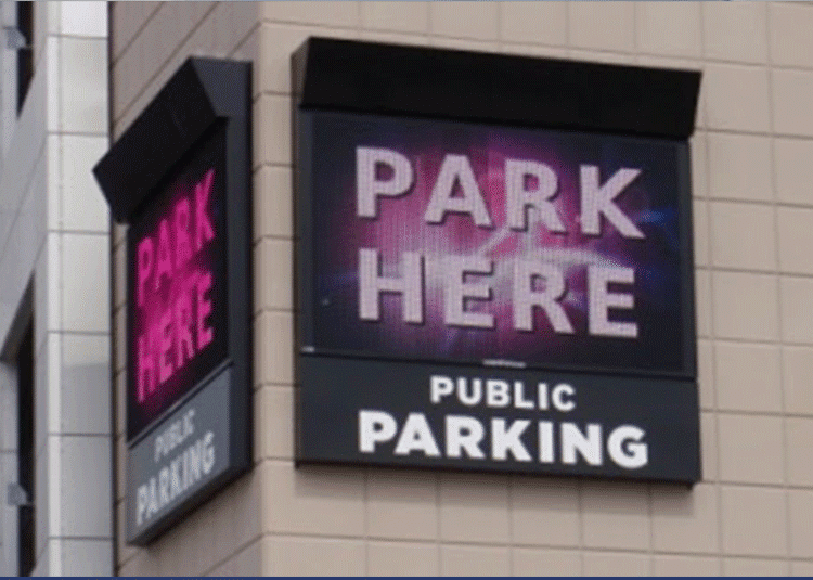 Park Here Public LED sign