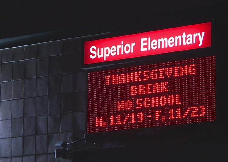 School LED sign using videos