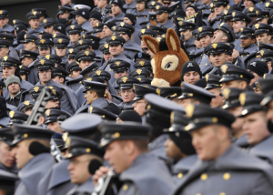 Donkey standing out in a sea of uniforms