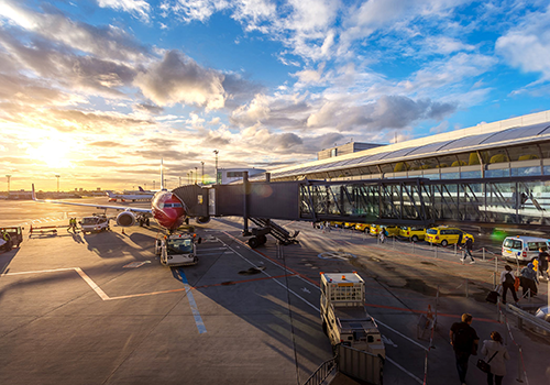 LED signs for Transport | An Airport during sunrise