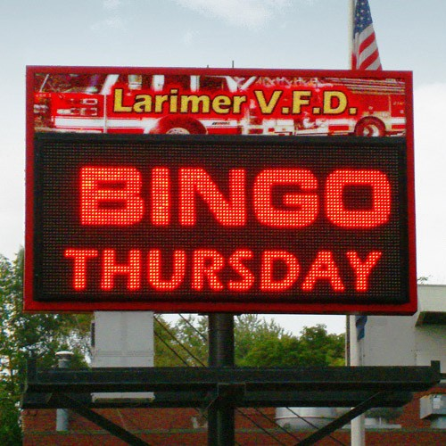 Single Color LED displaying Bingo Thursday