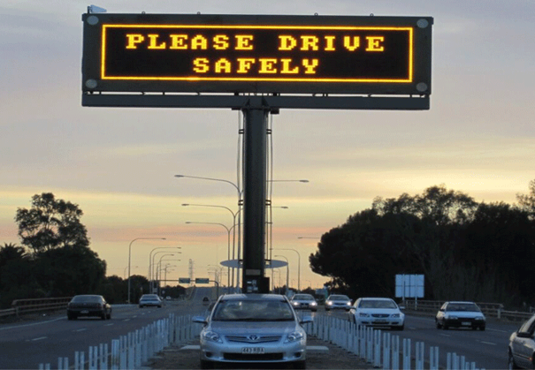 Keep your LED sign safe | Safety LED sign over the freeway