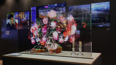 Transparent OLED Signs featuring a flower bouqet