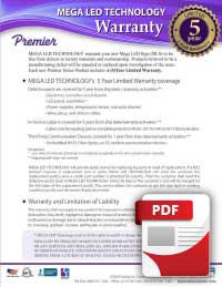 MEGA official Premier Warranty for Outdoor LED signs
