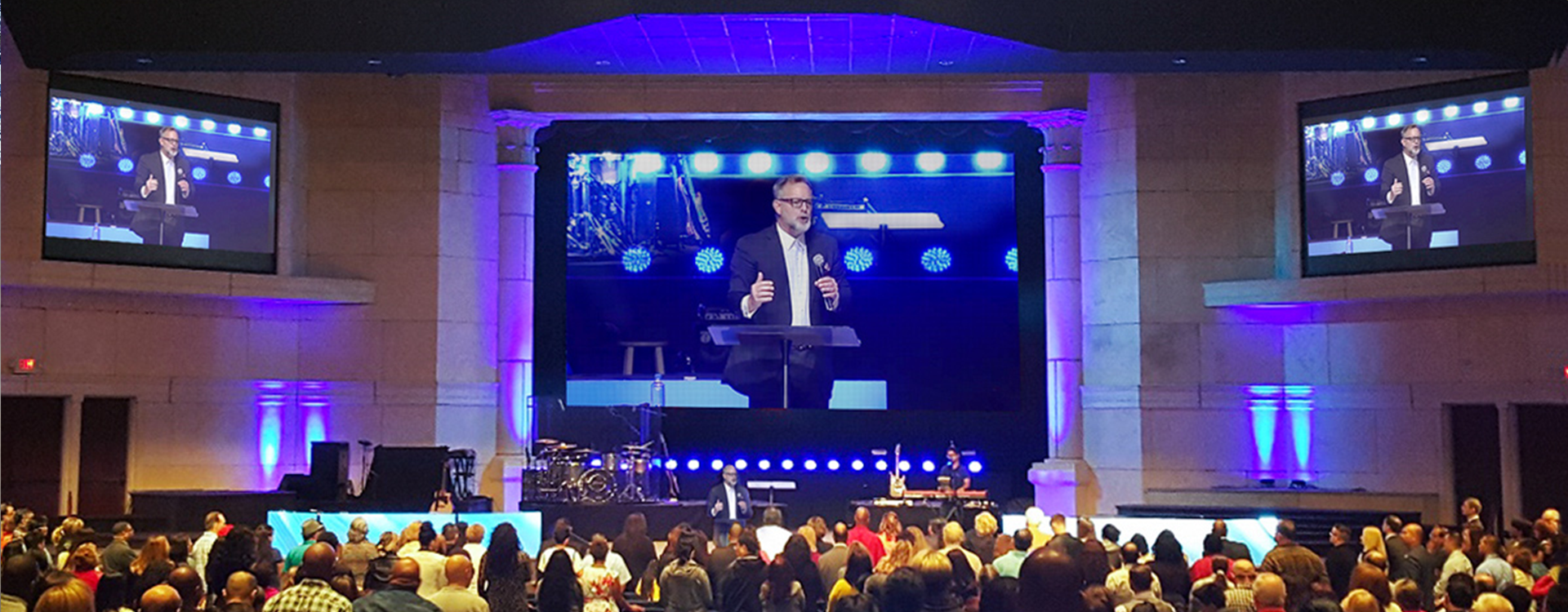 Pastor being displayed on a large High Resolution Church LED sign