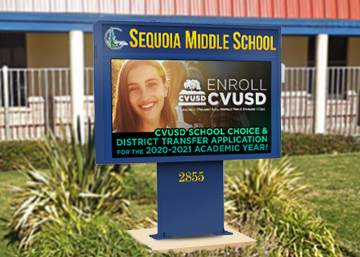 Sequoia Middle School LED sign after upgrade