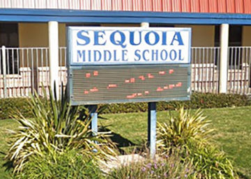 Sequoia Middle School LED sign before upgrading