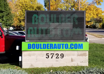 Boulder Auto with outdated LED sign