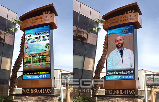 Vegas Pain Institute Custom LED sign on brick base