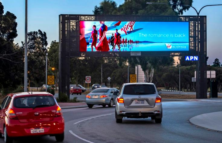 Virgin Digital Sign over a Freeway