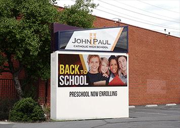 John Paul Catholic Church Monument LED sign