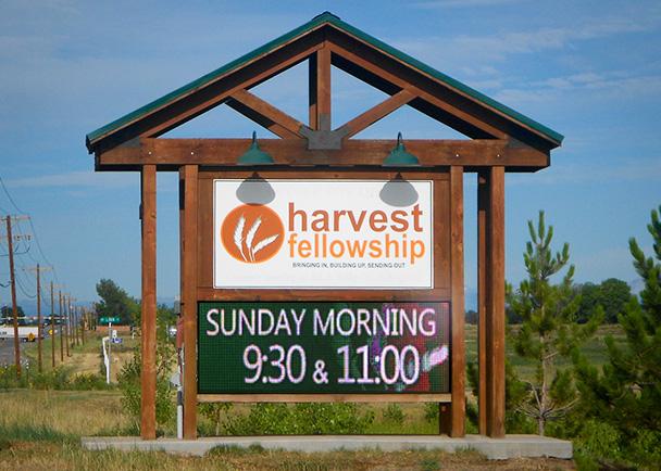 Harvest Fellowship church LED sign