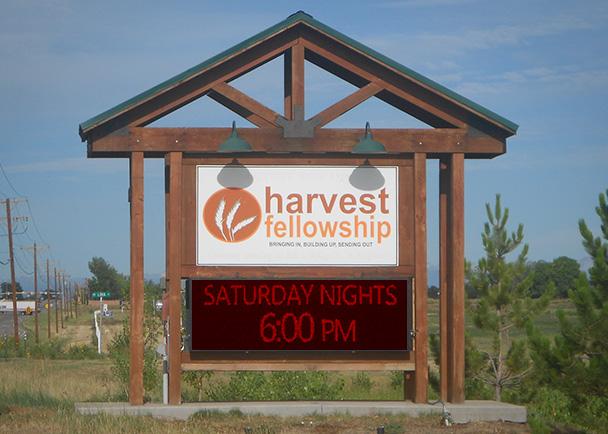 Harvest Fellowship Before LED sign