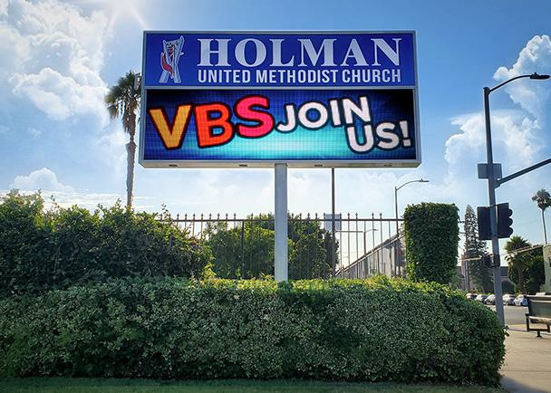 Holman United Methodist Church LED sign After