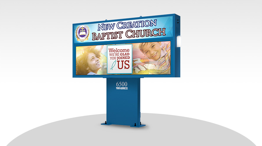 Large Church LED signs on a pedestal mount