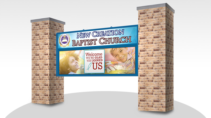 Large Church LED signs on a Large LED alpha sign on a column mount