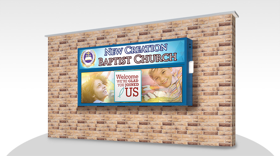 Church LED on Brick Wall Mount