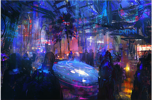 Futuristic Scene with people amidst digital signs