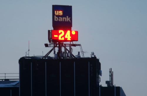 Outdoor LED sign in cold weather