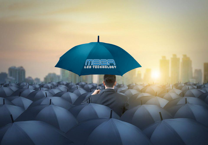 LED Advertising Signs standing out | Blue Umbrella among sea of normal umbrellas