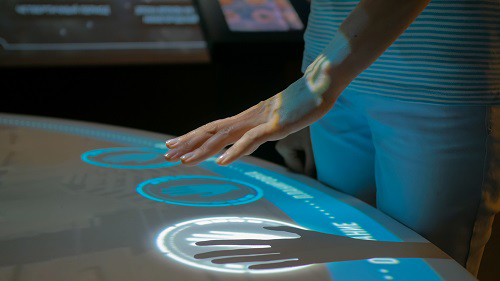 A woman using touchless technology