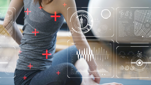Woman getting a health scan displayed on Digital Signage