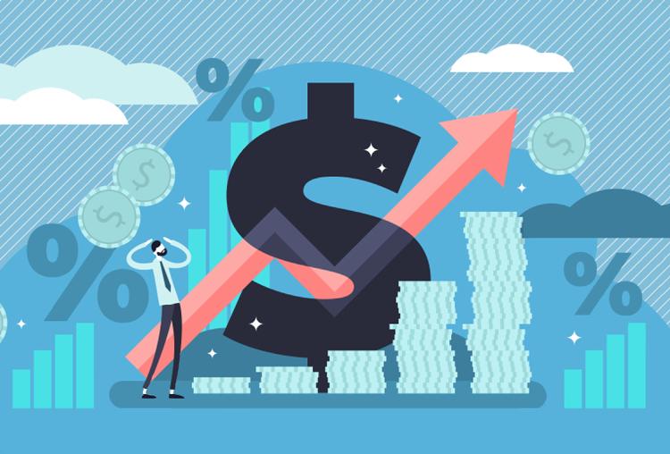 Cartoon of arrow going up amid price icon