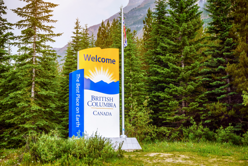 British Colombia Monument Sign welcoming location