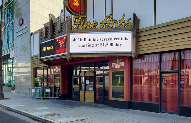Fine Arts Theater Outdoor Digital Sign during the day