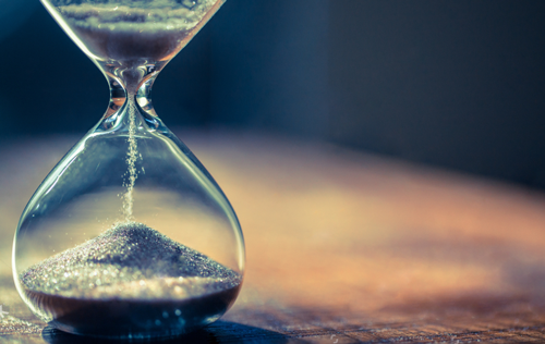 Hourglass allowing sand to pass time