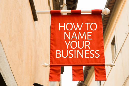 Name your business written on a red flag