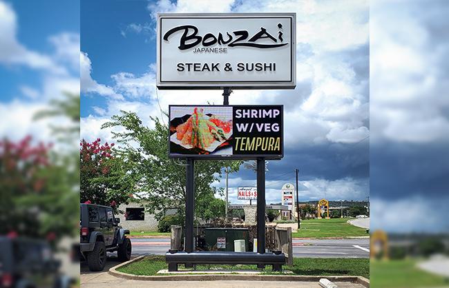 Bonzai Steak and Sushi Outdoor Digital Sign