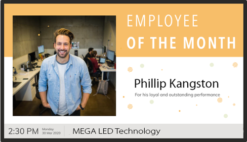 LED Digital sign displaying employee of the month