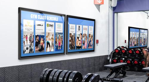 Gym LED Digital Sign showing classes
