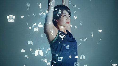 Woman stretching with abstract health information floating about