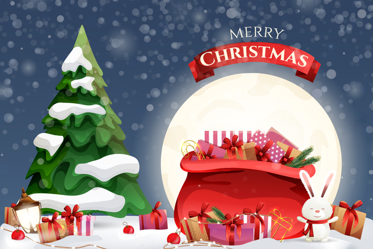 Jolly Merry Christmas Festive Graphic