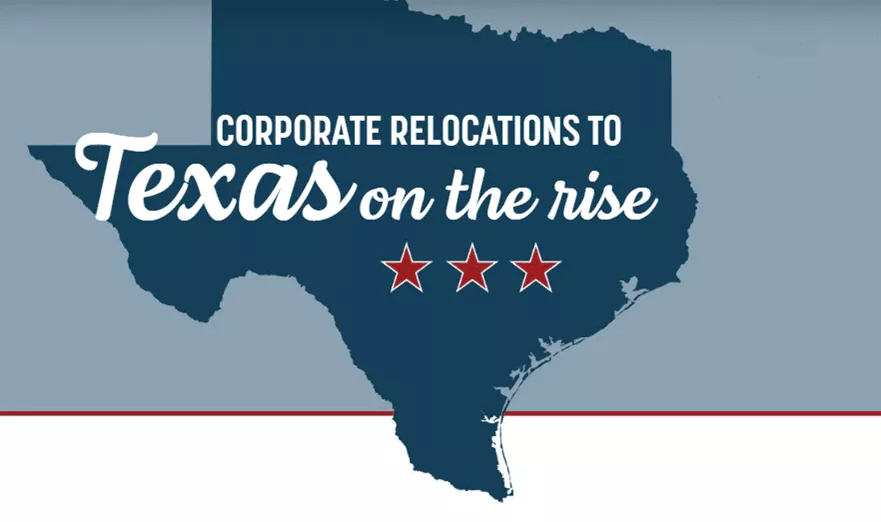 Corporations relocating to Texas Graphic
